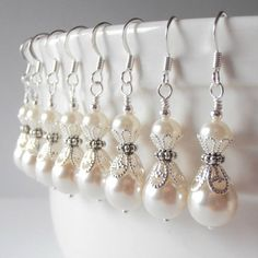 Set of 6 Ivory Pearl Bridesmaid Earrings, Beaded Pearl Dangles, Ivory Wedding Jewelry Set, Bridesmaid Gift, Custom Colors Available