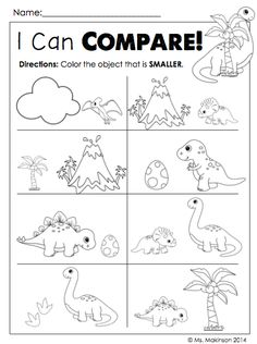 Dinosaur Literacy and Math Activities - Comparing Size