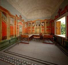 VILLA AT BOSCOREALE near Pompeii, Room G, the triclinium, as appearing in the daytime