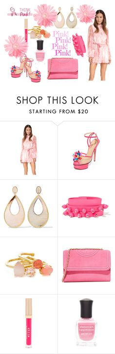 """""""Pink Flarred Rompers....!!!!"""" by hillarymaguire ❤ liked on Polyvore featuring Zimmermann, Charlotte Olympia, Kenneth Jay Lane, Valentino, Kate Spade, Tory Burch, Stila and Deborah Lippmann"""