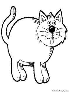 Big Fat Cat Coloring Page For Preschool Printables