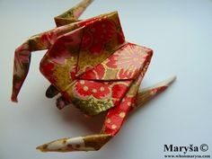 Red Origami Crab Brooch  with golden lines Animal by MarysaArt