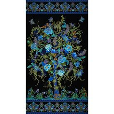 Timeless Treasures Tree of Life Metallic Eden Panel Black from @fabricdotcom  Designed by Chong-A Hwang for Timeless Treasures, this cotton panel features a tree and bird motif.  Perfect for quilting and home décor accents.  Colors include black, shades of green, shades of blue, shades of purple, shades of brown and metallic gold.  This panel measures approximately 23'' x 44''.