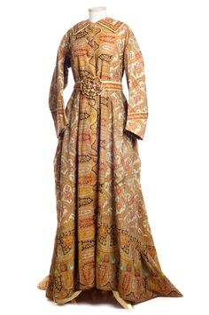 Perfect for a Thanksgiving Day morning… Orange floral and paisley dressing gown, c. 1869, worn by Mrs. Moritz of Norfolk, VA. Charleston Museum.