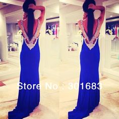 Long Chiffon Custom Made Blue Beaded Sexy prom Dress $95.00