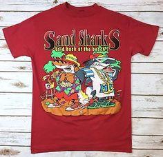 Vintage 90s Mens T-Shirt Sand Sharks Laid Back At The Beach Red Large Hip Hop    eBay
