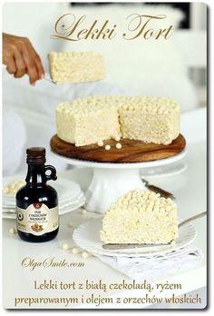 Lekki tort - ryż preparowany, biała czekolada, draże