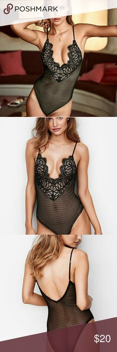DREAM ANGELS Mesh Plunge Bodysuit A plunge front and back, sheer mesh and scalloped lace make this one a real show-off.  Sheer, unlined Adjustable straps Mesh with lace at plunge front Deep v-back Bikini bottom with snap closure Imported nylon/spandex AL-360-186 Victoria's Secret Intimates & Sleepwear Chemises & Slips
