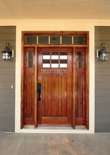 craftsman front door with transom window.