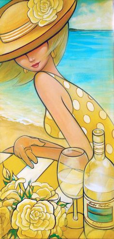Original Wine and Roses by the beach by Suzy by SuzySadakFineArt