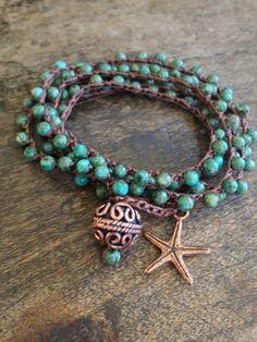Turquoise Starfish Multi Wrap Crochet Bracelet, Anklet, Necklace Beach Chic. $38.00, via Etsy.