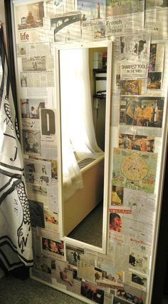 small space decoration - newspaper collage on wall. LOVE THIS!!! SO doing this in my room :D