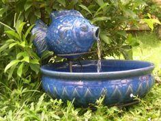 Smart Solar Blue Glazed Fish Solar Fountain