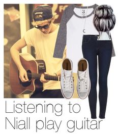 """Listening to Niall play guitar"" by style-with-one-direction ❤ liked on Polyvore featuring Topshop, Converse, OneDirection, 1d, NiallHoran and niall horan one direction 1d"