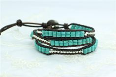 Bracelets Type: Wrap BraceletsShape\pattern: RoundClasp Type: Easy-hookMetals Type: Stainless SteelLength: Young and trendy turquoise wrap bracelets b Beaded Wrap Bracelets, Turquoise, Boho, Beads, Trending Outfits, Unique Jewelry, Handmade Gifts, Leather, Etsy