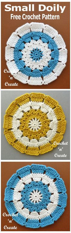 Sweet and pretty small doily, use for side, coffee tables etc, free crochet pattern. #crochetncreate #crochetdoily #crochet #freecrochetpattern