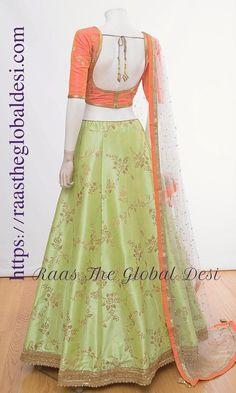 Chaniya choli 2018 Buy online beautiful designer collection -ghaghra choli navratri collection at best prices at RAAS THE GLOBAL DESI . Lehenga Gown, Lehnga Dress, Indian Lehenga, Lehenga Blouse, Bridal Lehenga, Anarkali, Blue Lehenga, Lehenga Style, Pakistani Bridal