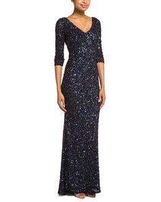 Theia Carbonized Midnight Beaded Gown
