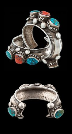 India | Tibetan Silver Turquoise and Coral Cuff from Darjeeling | Circa Mid 20th Century