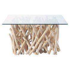 Glass and teak coffee table W 90cm