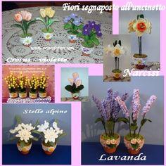 Vasetti segnaposto in terracotta con fiori all'uncinetto - www.nonsolofiori.com - diametro cm 5,5 - h cm 17/20