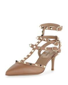 Rockstud Leather Mid-Heel Slingback, Taupe by Valentino at Neiman Marcus $1075.