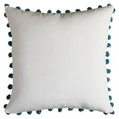 Poms Throw Pillow Ivory/Blue - (18x18) - Rizzy Home