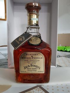 This Jack Daniel's  bottle, comemorates 30 years of partnership between the Jack Daniel's parent company Brown - Forman, and Japan's Suntory company. This bottle is extremely rare and hard to find. Most likely, these bottles were given to the employees of the two companies, and never sold in stores. Scotch Whiskey, Bourbon Whiskey, Whisky, Jack Daniels Single Barrel, Jack Daniels Bottle, Jack Daniel's Tennessee Whiskey, Parent Company, 30 Years, Cigars