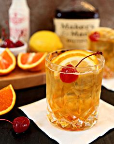 one of my favorites. The Old Fashioned: Orange and Lemon Peel Bitters ¾ oz simple syrup 2 oz Maker's Mark Bourbon Whiskey Orange slices, lemon slices and maraschino cherries for garnish Bar Drinks, Cocktail Drinks, Yummy Drinks, Cocktail Recipes, Drink Recipes, Bourbon Recipes, Sour Cocktail, Smoothie Recipes, Yummy Food