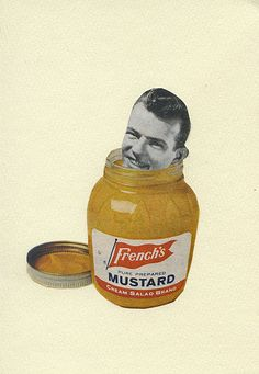He couldn't cut the mustard.  Original collage by Vivienne Strauss.. $25.00, via Etsy.