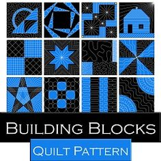 Learn how to piece and free motion quilt as you create 42 blocks with help from Leah Day. Find full size quilting guides, templates and more in the Building Blocks Beginner Quilt Pattern.
