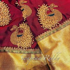 Stunning maroon color designer blouse with swan design hand embroidery gold thread and bead work. Blouse with gold jari sleeves. Embroidery Works, Beaded Embroidery, Hand Embroidery, Embroidery Designs, Couture Embroidery, Patch Work Blouse Designs, Fancy Blouse Designs, Blouse Neck Designs, Wedding Saree Blouse Designs