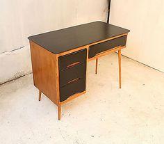 Retro Desk, Wood & Black Contrast Drawers, Child`s Bedroom, Student, Small Study