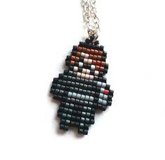 Winter Soldier Necklace Chibi Handmade Handbeaded Jewelry 8bit jewelry The Avengers