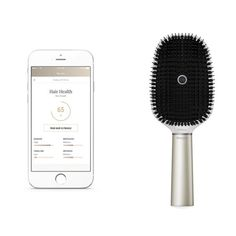Kérastase Smart Brush - The Kérastase Hair Coach Powered by Withings takes brushing your hair to a whole new level. A built-in microphone recordsthe sound of brushing, an accelerometer and gyroscope identify brushing patterns and count brushstrokes and sensors detect if brushing dry or wet hair. All datais sent via WiFi or Bluetooth to a mobile app that provides a daily hair breakage score. The Hair Coach Powered by Withings will retail for less than $200 and launches mid 2017.