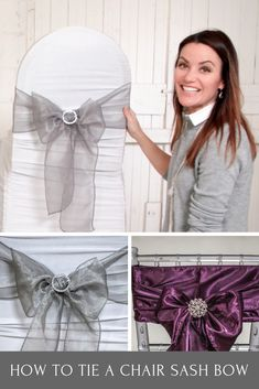 Learn how to quickly tie a beautiful chair sash bow to decorate your event chairs. Such a simple but effective look to acheive. Wedding Chair Sashes, Bling Wedding, Wedding Chairs, Wedding Reception Decorations, Reception Ideas, Fall Wedding, Table Decorations, Wedding Venue Inspiration, Wedding Ideas