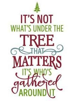 Merry Christmas quotes 2016 for friends,family on Facebook,whatsapp,Pinterest and Instagram.The quotation reads its not what is under the tree that matter, its who all gathered around. #MerryChristmasQuotes