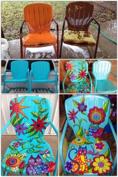 "Before and after painted metal chairs. This is the ""Crazy Cat Lady"" design. Painted Metal Chairs, Vintage Metal Chairs, Metal Lawn Chairs, Metal Patio Furniture, Funky Painted Furniture, Refurbished Furniture, Furniture Projects, Diy Furniture, Garden Furniture"