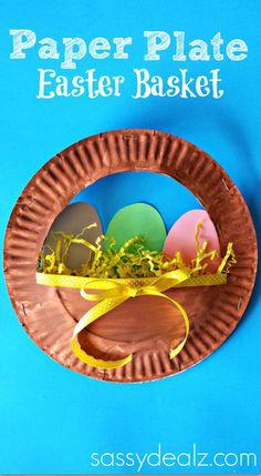 3D Paper Plate Easter Basket Craft for Kids #DIY  #Easter craft for kids to make! | CraftyMorning.com