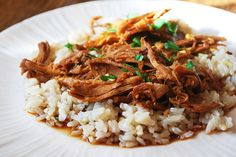 Slow cooker Bourbon Chicken (over rice)--perfect for dinner with the neighbors this winter.