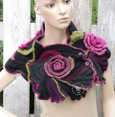 Crochet Scarf Black Roses Purple cowl Unique Capelet Neck