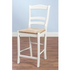 Complement your counter or bar with this white wood stool. The slat back provides a comfortable seating arrangement for the user. The seat is woven to provide style as well as an easy place to sit. With a height of 30', the stool is perfect for bars.