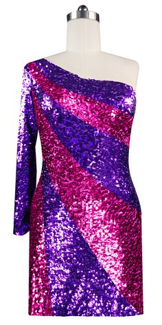 4442d0e3c5f Short patterned dress in metallic purple and fuchsia sequin spangles fabric  in a one-sleeve. SequinQueen.com