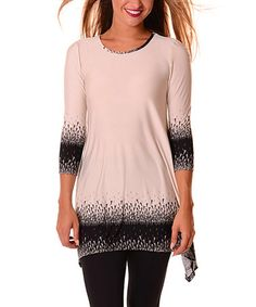 Love this Beige & Black Abstract-Trim Sidetail Tunic on #zulily…