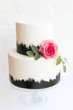 Gorgeous Black + White Cake with Pink | Erica O'Brien