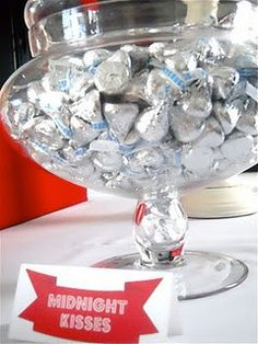 New Year's Eve Party Ideas including midnight kisses (Hershey's Kisses)!