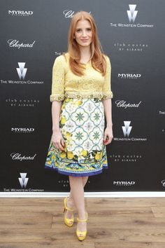 Fabulously Spotted: Jessica Chastain Wearing Dolce & Gabbana - 'The Disappearance Of Eleanor Rigby' 2014 Cannes Film Festival Pre-Screening  - http://www.becauseiamfabulous.com/2014/05/jessica-chastain-wearing-dolce-gabbana-the-disappearance-of-eleanor-rigby-2014-cannes-film-festival-pre-screening/
