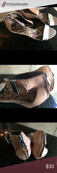 Size 11 silver and tan low wedge Sam Edelman silver and tan low wedge. Gently used, very good condition. Sam Edelman Shoes Sandals