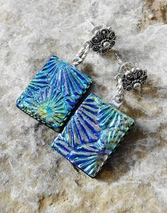 Textured Glass Earrings Rectangle  Dichroic Glass by GlassCat