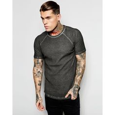 ASOS Muscle Waffle T-Shirt With Oil Wash In Black (94 SAR) ❤